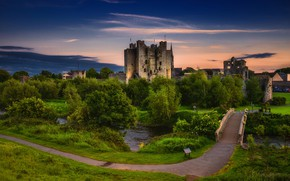 Picture greens, the sky, grass, trees, sunset, bridge, castle, the evening, track, the ruins, river, Ireland, …
