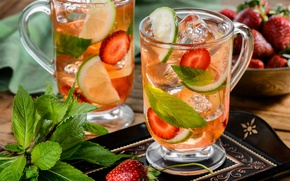 Picture ice, strawberry, cocktail, lime, drink, fruit, mint
