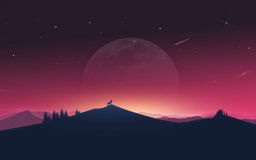 Wallpaper the moon, wolf, sunset, wolf, art