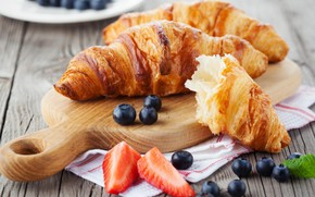 Picture strawberry, cakes, blueberries, croissant