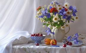 Wallpaper bouquet, irises, nectarine, chamomile, cherry
