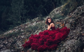 Picture stones, makeup, dress, the beauty, in red