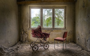 Picture window, chair, stroller