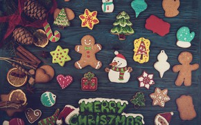 Picture New Year, cookies, Christmas, wood, Merry Christmas, cookies, decoration, gingerbread, gingerbread