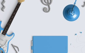 Picture table, lamp, guitar, headphones, note, treble clef