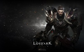Picture look, background, armor, sparks, guy, Lost Ark
