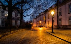 Picture street, the evening, lights, Netherlands, Holland, Breda, Nonsense