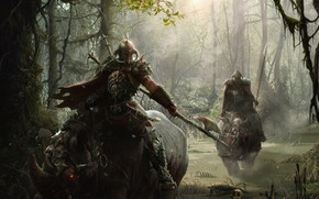 Picture forest, weapons, swamp, warriors, riders, rhinos