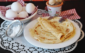 Picture eggs, plates, sugar, pancakes, cakes, napkin, carnival, powder, strainer