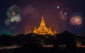 Picture light, pagoda, fireworks, golden, road, night, asia, fireworks, pagoda
