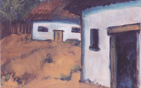 Picture the fence, home, hut, Expressionism, Otto Mueller, ca1928, Gypsy Hutt