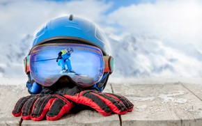 Wallpaper gloves, skiing, clouds, glasses, Board, bokeh, skier, helmet, mountains, winter, background, snow, reflection, landscape