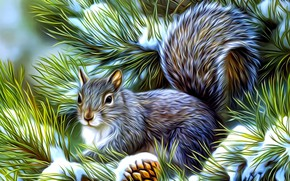 Wallpaper rendering, snow, winter, pine branch, painting, protein, needles, figure, fluffy tail