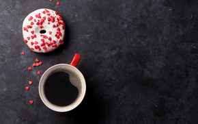 Picture coffee, donut, cup, glaze, coffee, donut