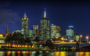 Picture the sky, trees, night, bridge, lights, river, palm trees, building, home, stars, Australia, lights, promenade, …
