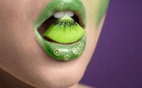 Picture makeup, kiwi, sponge, teeth, Fresh fruit