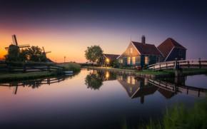 Picture bridge, lights, house, channel, Netherlands, windmill, The Zaanse Schans