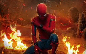 Picture fiction, fire, frame, sparks, costume, comic, Spider-Man, Peter Parker, Spider-Man, Tom Holland, Tom Holland, Spider-Man: …