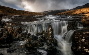 Picture river, stones, waterfall, stream, thresholds, Wales