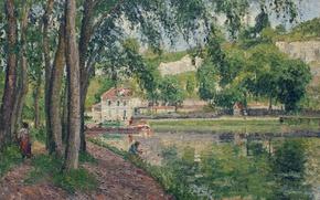 Wallpaper Camille Pissarro, Moret. Canal du Loing, trees, landscape, house, picture