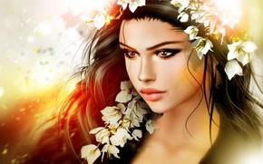 Wallpaper hair, girl, flowers