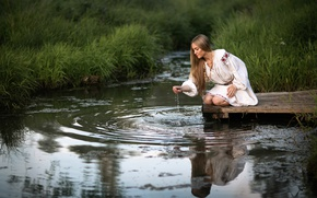 Picture water, reflection, stream, legs, rimsky