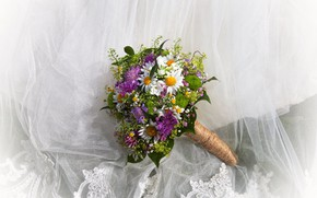 Picture flowers, chamomile, bouquet, fabric, chrysanthemum