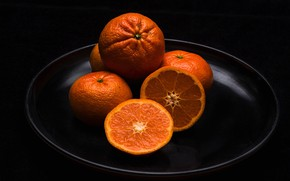 Wallpaper slices, tangerines, citrus, fruit, dish