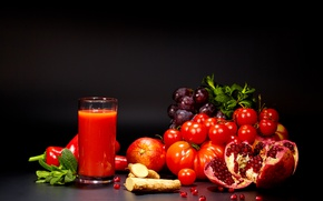 Picture glass, juice, grapes, pepper, vegetables, tomatoes, tomatoes, garnet