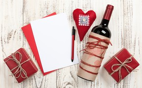 Picture love, gift, wine, heart, bottle, hearts, red, love, wood, wine, romantic, hearts, Valentine's Day, gift