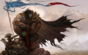 Wallpaper warrior, MRAK, axe, skull