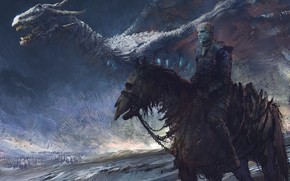 Wallpaper dragon, rider, nightking