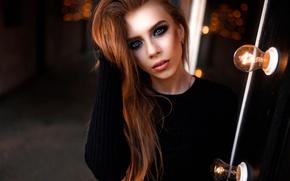 Picture portrait, makeup, beautiful, light bulb, Dasha Golkowska