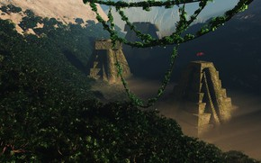 Picture forest, mountains, tower, Lost Civilisation, maya valley
