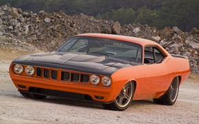 Picture 1971, Orange, Barracuda, Plymouth, Muscle Car, G Force Cuda.