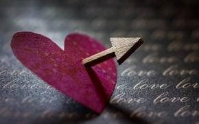 Wallpaper heart, arrow, macro
