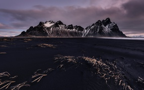 Picture mountains, Iceland, Cape, Stokksnes, black sand, Have stoknes