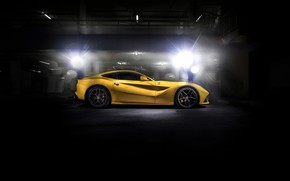 Wallpaper black, yellow, F12, Ferrari
