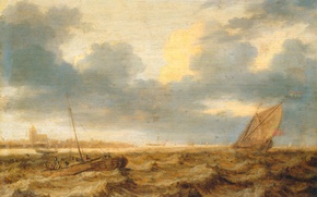 Wallpaper tree, oil, picture, sail, seascape, Yang Porcellis, Fishing Boats in a Stormy Sea