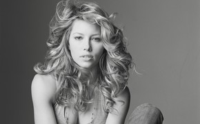 Picture actress, black and white, Jessica Biel