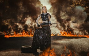 Picture girl, fire, rifle, apocalypse