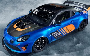 Picture racing car, side view, 2018, Alpine, GT4, A110
