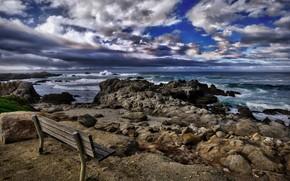 Wallpaper sea, shore, bench, California, Asilomar Beach