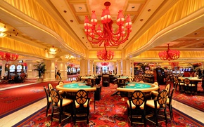 Wallpaper USA, hall, Las Vegas, table, casino, chandelier