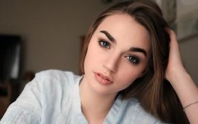 Picture girl, Model, long hair, photo, blue eyes, beauty, bokeh, lips, face, brunette, portrait, mouth, close …