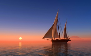 Wallpaper sea, the sky, the sun, sunrise, coast, ship, sailboat, horizon, 3D Graphics