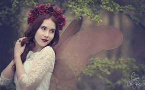 Picture girl, flowers, branches, mood, roses, moth, wings, wreath, Shanou Elise