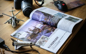 Picture table, the camera, journal, layouts, A Castle in snow