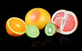 Picture oranges, kiwi, lime, black background, grapefruit