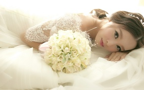 Wallpaper Asian, dress, bouquet, flowers, wedding, look, the bride